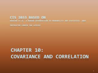 Chapter 10:  Covariance and Correlation