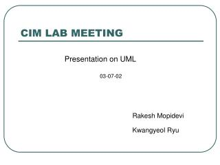 CIM LAB MEETING