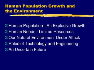 Human Population Growth and the Environment