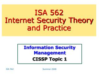 Information Security Management CISSP Topic 1