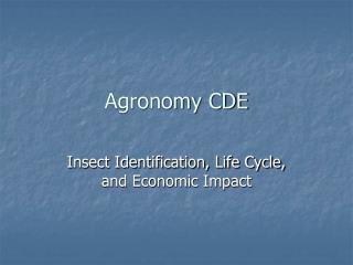 Agronomy CDE