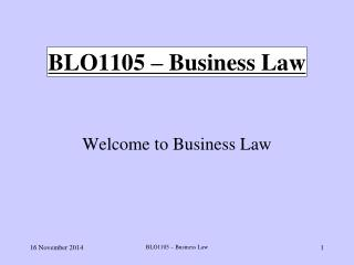 BLO1105 – Business Law