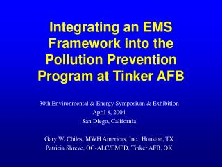 Integrating an EMS Framework into the Pollution Prevention Program at Tinker AFB