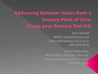 Addressing Behavior Issues from a Sensory Point of View (Using your Sensory Tool Kit)