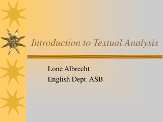 Introduction to Textual Analysis