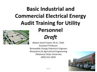 Basic Industrial and Commercial Electrical Energy Audit Training for Utility Personnel  Draft