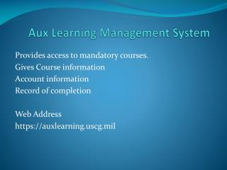 Aux Learning Management System