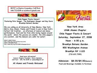 New York Area  UNM Alumni Chapter  Chile Pepper Fiesta & Concert Saturday, September 27, 2008