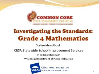 Investigating the Standards:  Grade 4 Mathematics