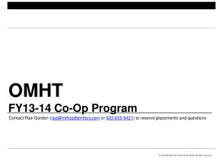 OMHT FY13-14 Co-Op Program