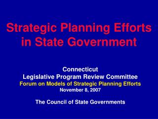 Strategic Planning Efforts in State Government