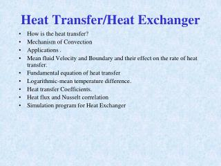 Heat Transfer/Heat Exchanger