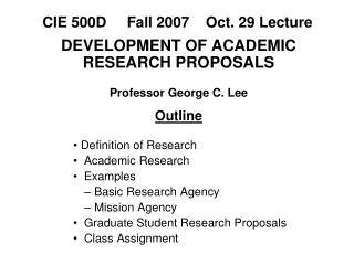 CIE 500D     Fall 2007    Oct. 29 Lecture