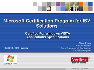 Microsoft Certification Program for ISV Solutions