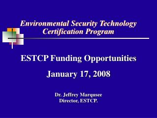 Environmental Security Technology Certification Program