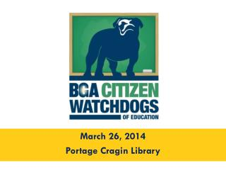 March 26, 2014 Portage Cragin Library