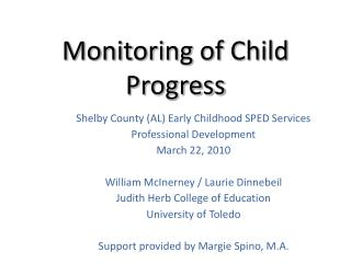 Monitoring of Child Progress