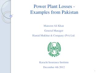 Power Plant Losses - Examples from Pakistan