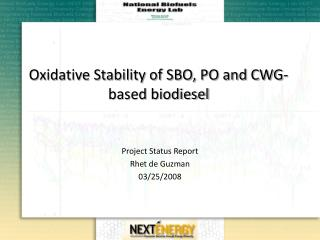 Oxidative Stability of SBO, PO and CWG-based biodiesel