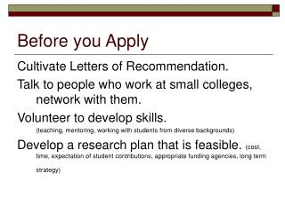 Before you Apply