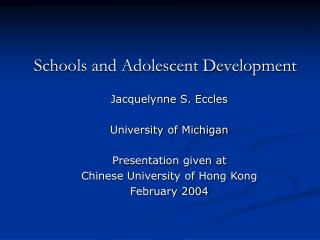 Schools and Adolescent Development