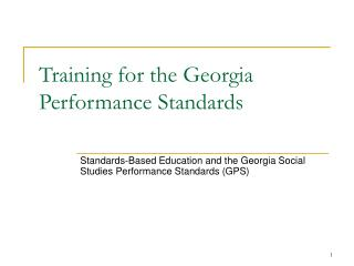 Training for the Georgia Performance Standards