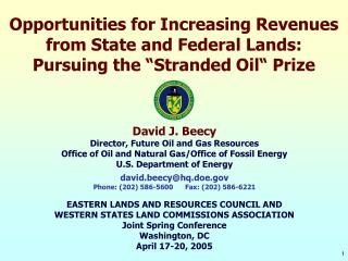 David J. Beecy Director, Future Oil and Gas Resources