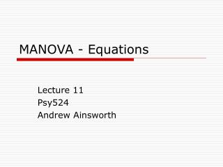 MANOVA - Equations