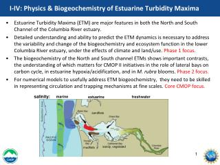 I-IV: Physics & Biogeochemistry of Estuarine Turbidity Maxima