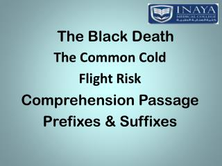 The Black Death The Common Cold Flight Risk Comprehension Passage Prefixes & Suffixes
