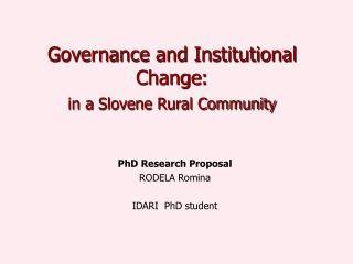 Governance and Institutional Change : in a  Slovene Rural Community
