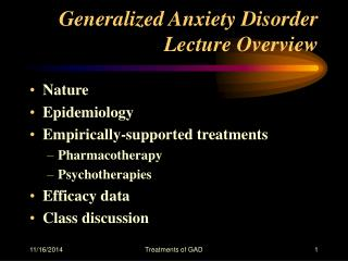 Generalized Anxiety Disorder Lecture Overview
