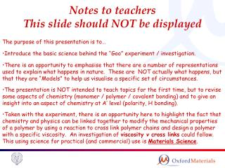 Notes to teachers This slide should NOT be displayed