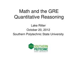Math and the GRE Quantitative Reasoning