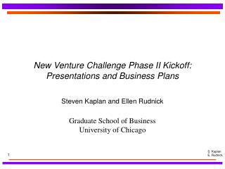 New Venture Challenge Phase II Kickoff: Presentations and Business Plans