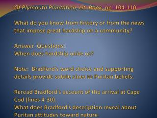 On Plymouth Plantation Questions