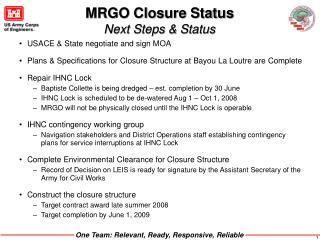 MRGO Closure Status  Next Steps & Status