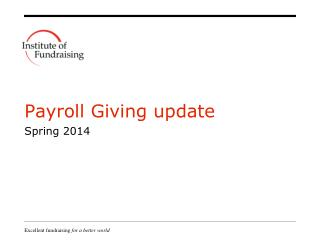 Payroll Giving update