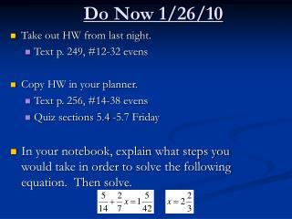 Do Now 1/26/10