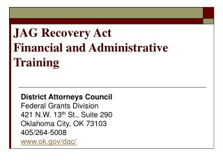 JAG Recovery Act  Financial and Administrative Training