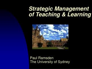 Strategic Management of Teaching & Learning