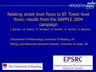 Relating street level flows to BT Tower level flows : results from the DAPPLE 2004 campaign