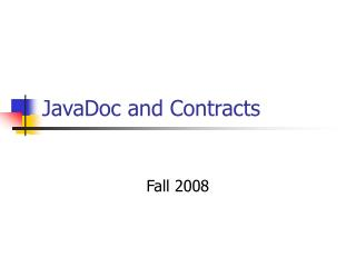 JavaDoc  and Contracts
