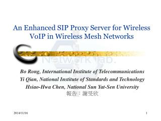 An Enhanced SIP Proxy Server for Wireless VoIP in Wireless Mesh Networks