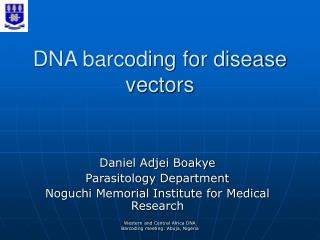 DNA barcoding for disease vectors