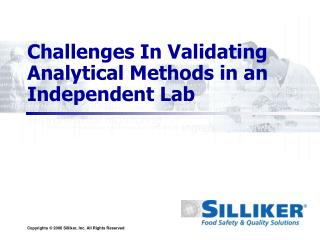 Challenges In Validating Analytical Methods in an Independent Lab