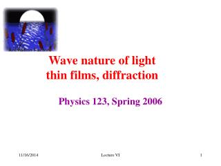 Wave nature of light thin films, diffraction