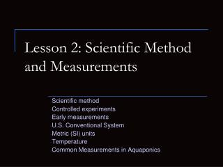 Lesson 2: Scientific Method and Measurements