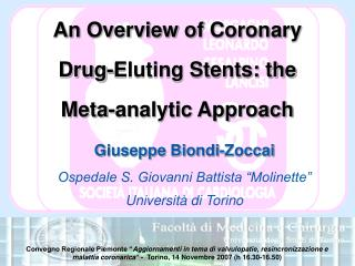 An Overview of Coronary Drug-Eluting Stents: the  Meta-analytic Approach