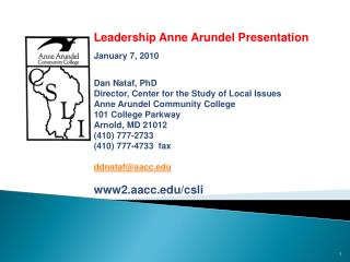 Public Opinion and Issues in  Anne Arundel County:  Leadership Anne Arundel Presentation